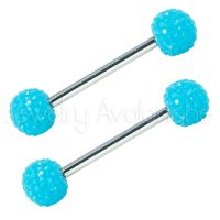 14G Nipple Barbell with Neon Blue Shambala Accent, Screw-on 316L Surgical Steel Nipple Ring, Sold as pair