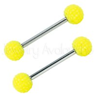 14G Nipple Barbell with Neon Yellow Shambala Accent, Screw-on 316L Surgical Steel Nipple Ring, Sold as pair