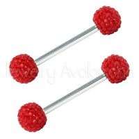 14G Nipple Barbell with Red Shambala Accent, Screw-on 316L Surgical Steel Nipple Ring, Sold as pair