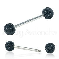 14G Nipple Barbell with Black Shambala Accent, Screw-on 316L Surgical Steel Nipple Ring, Sold as pair