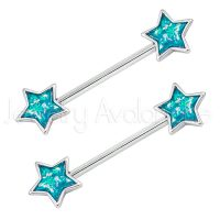14G Nipple Barbell with Bezel Set Star Blue Opalite, Screw-on 316L Surgical Steel Nipple Ring, Sold as pair