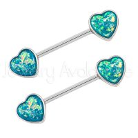 14G Nipple Barbell with Heart Shape Blue Opalite, Screw-on 316L Surgical Steel Nipple Ring, Sold as pair
