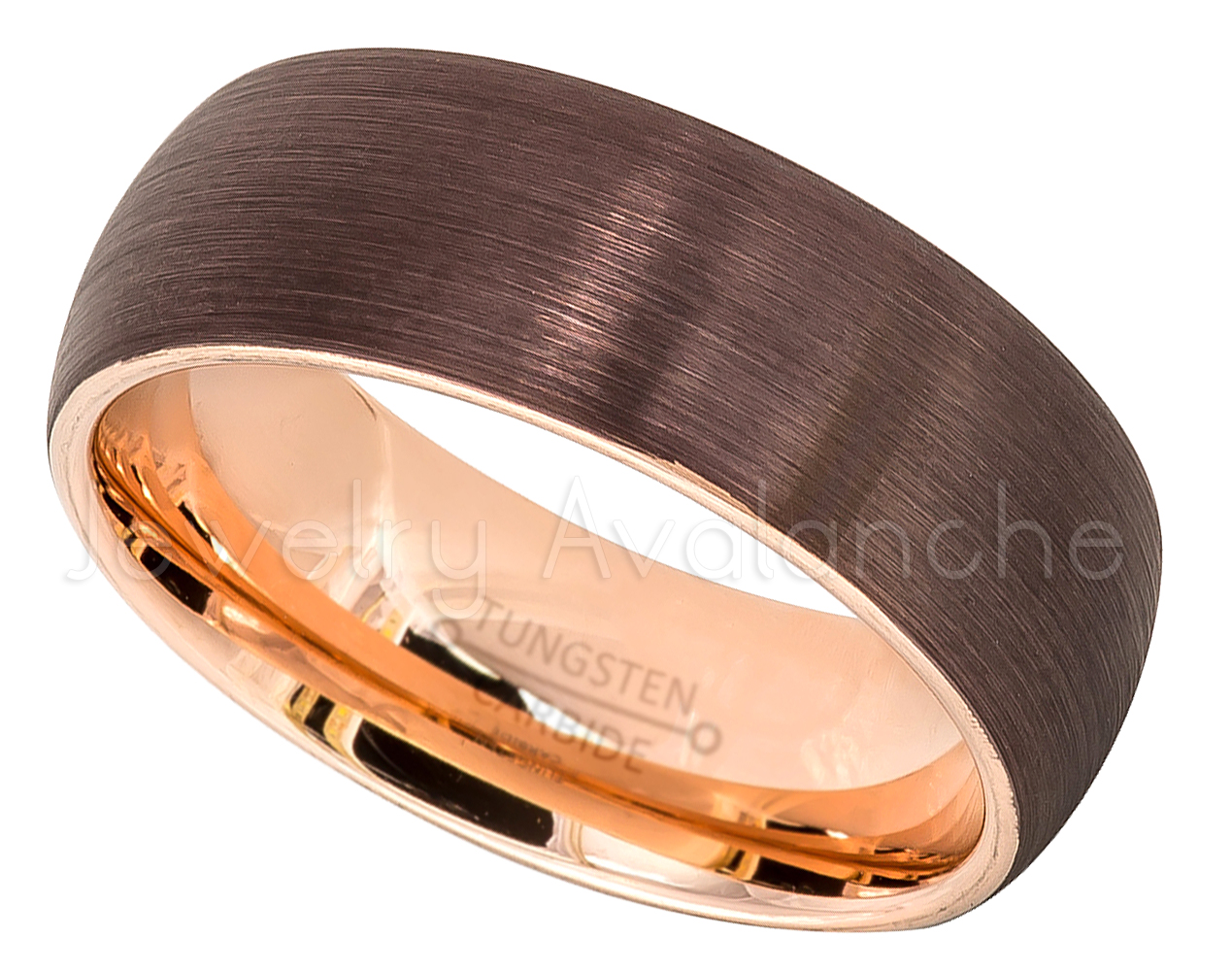 This is an image of 42-Tone Dome Tungsten Wedding Band - 42mm Brushed Finish Brown IP & Rose Gold Plated Inner Comfort Fit Tungsten Carbide Ring, Tungsten Anniversary Band