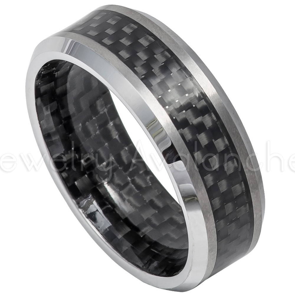 8 mm Mens Tungsten Carbide Rings Wedding Bands with Black Carbon Fiber