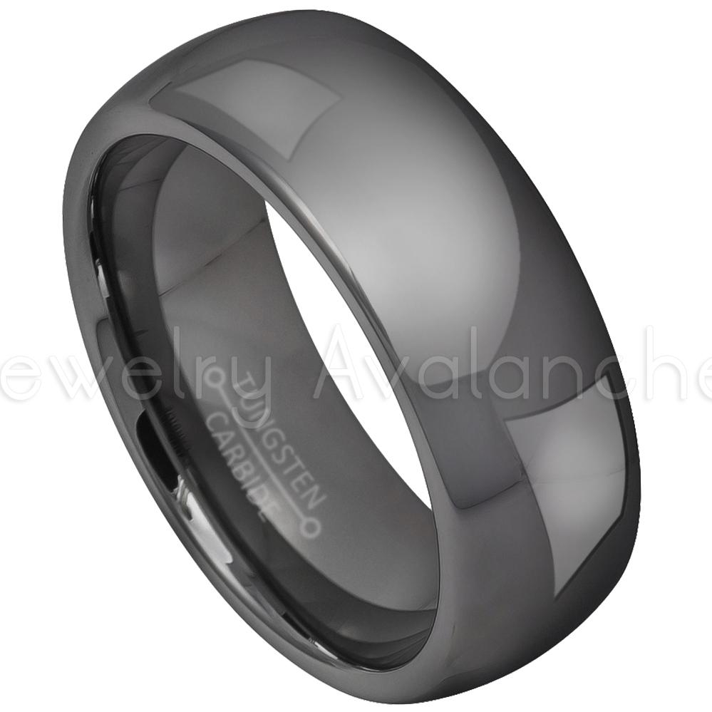 Gunmetal Dome Tungsten Wedding Band - 9mm Comfort Fit Tungsten Carbide Ring  - Mens Anniversary Band TN9PL