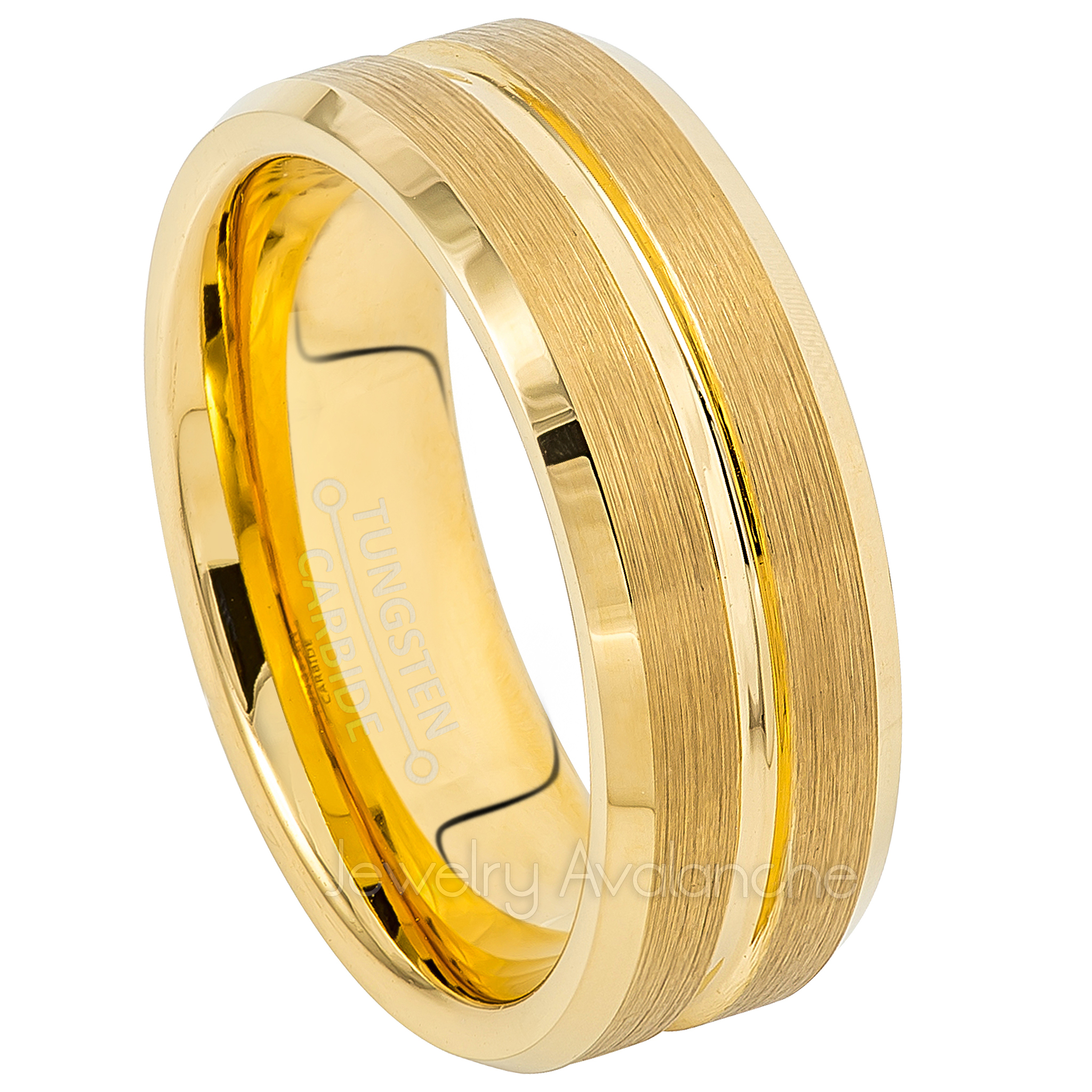 88137acffd0f2 Men's Beveled Tungsten Wedding Band - 8mm Yellow Gold Plated Comfort Fit  Tungsten Carbide Ring - Anniversary Band TN724PL