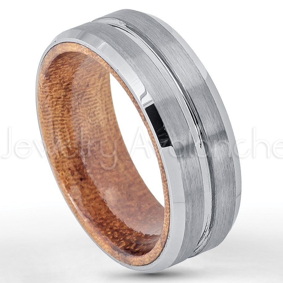 Mens Wedding Bands Tungsten.Men S Grooved Tungsten Wedding Band With African Safele Mahogany Wood Inlay 8mm Beveled Edge Comfort Fit Tungsten Carbide Ring Mens Anniversary