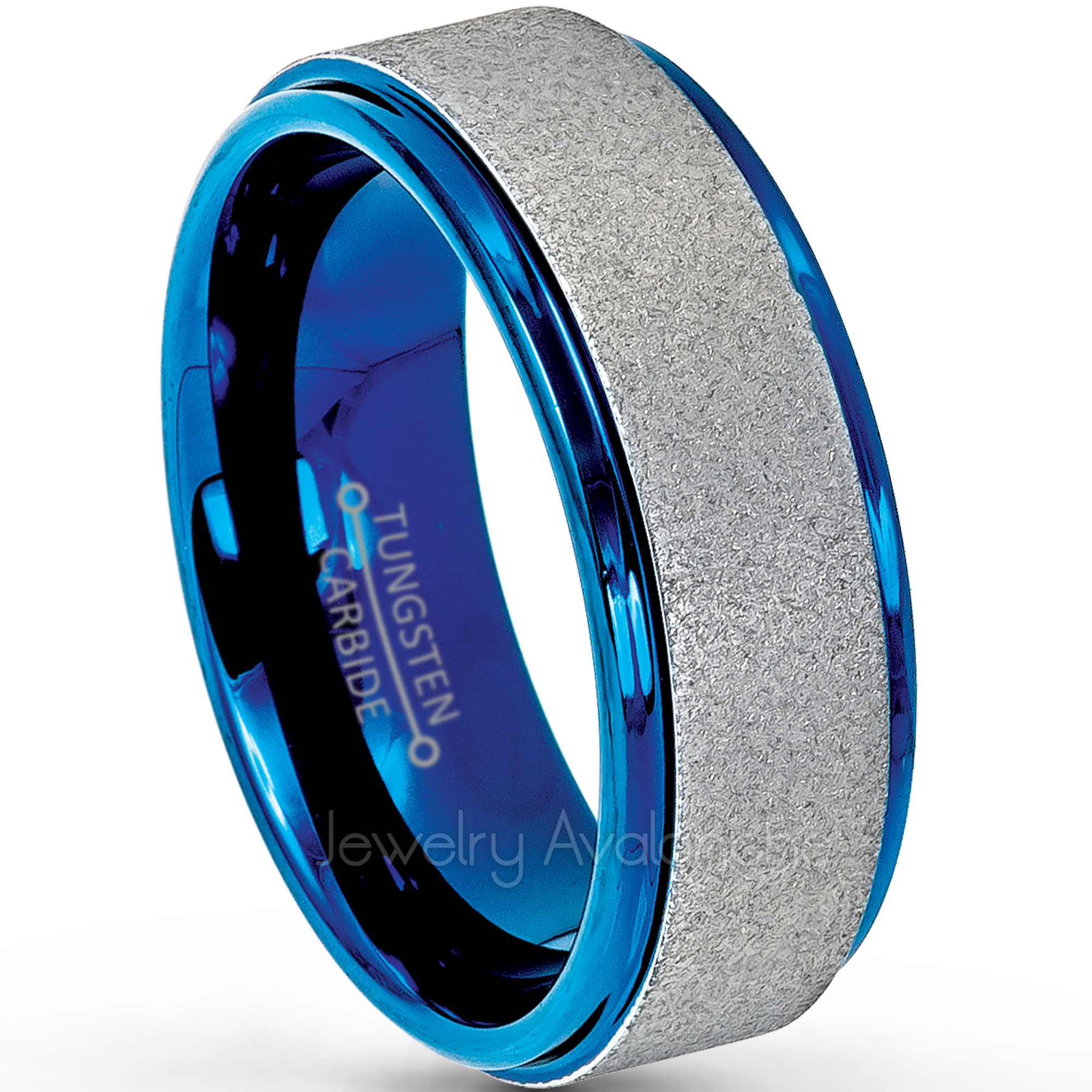 Comfort Fit Free engraving Sandblasted Center Stepped Edge Yellow Gold IP Plated Tungsten Ring