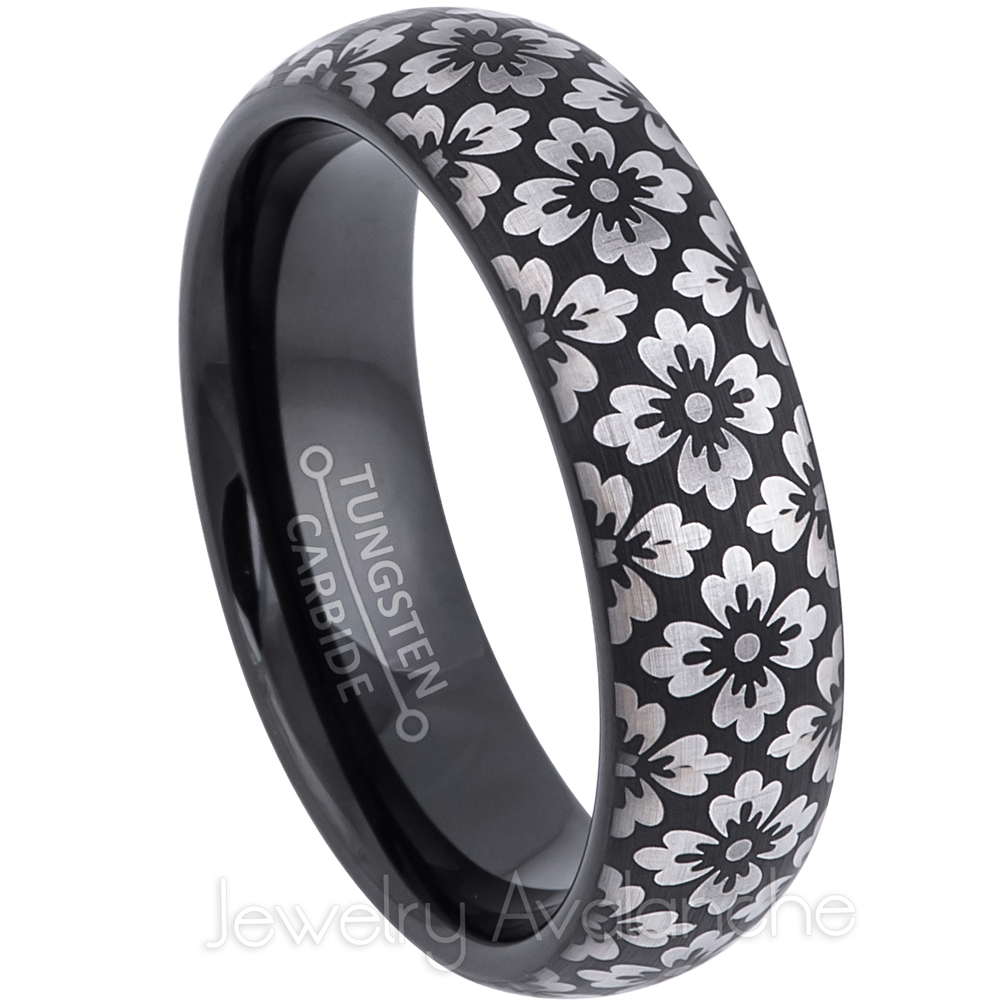 Tungsten Jeweler Free Engraving 6mm White Titanium Classic Domed Brushed Finish Wedding Band Ring for Him or Her