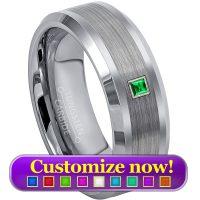 December Birthstone Ring,8mm Brushed Center Polish Edge Tungsten Carbide Ring TS1762 Men/'s Tanzanite /& Diamond Wedding Band